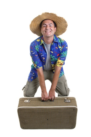 young silly man traveler, full body on white background photo