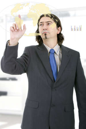 Business man working with virtual digital interface or environment