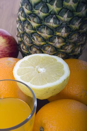 glasse of orange juice and fruits Stock Photo - 17071401