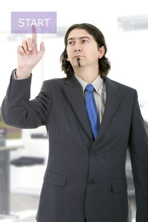 Business man working with virtual digital interface or environment photo