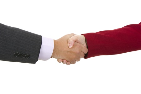 Handshake of business partners, men and women in the office Stock Photo