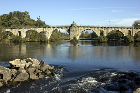 ancient roman bridge of Ponte da Barca in the north of portugal Stock Photo