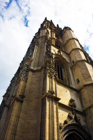 Angle shot of the cathedral in Oviedo