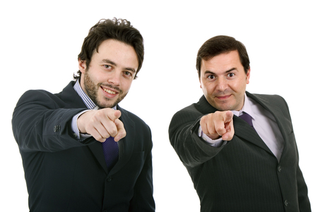 Two Businessman standing on a white background Stock Photo