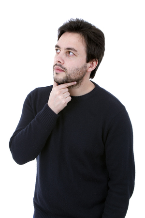 young casual man portrait in a white   Stock Photo