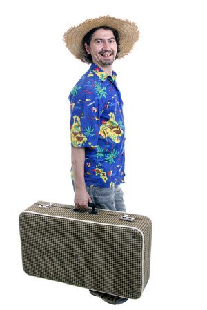 young silly man traveler, full body on white