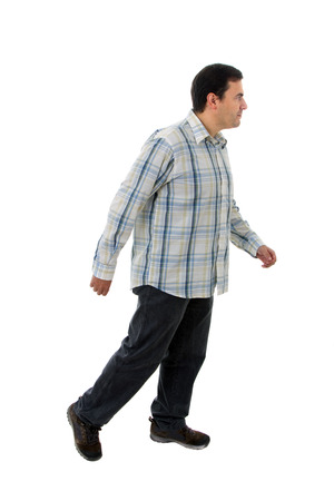 young casual man full body in a white