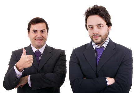 Two Businessman standing on a white Stock Photo