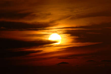 Sunset with clouds photo
