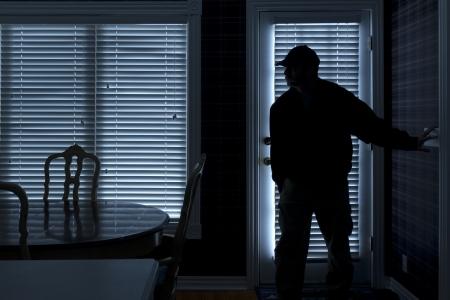 ladron: Esta foto ilustra un robo o un ladr�n entrar en una casa por la noche a trav�s de una puerta trasera Vista desde el interior de la residencia