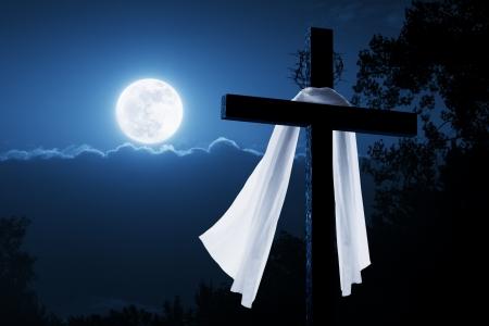 Deze foto illustratie is een nieuw concept op de Ochtend van Pasen waarin Jezus is gestegen in de nacht als deze foto laat zien met het