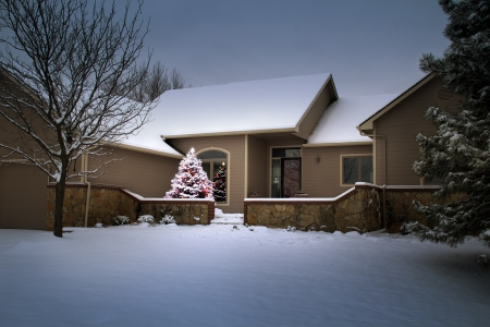 This Snow Covered Christmas Tree seems to glow with its own light as it illuminates this family home and its surroundings on Christmas Morning  photo