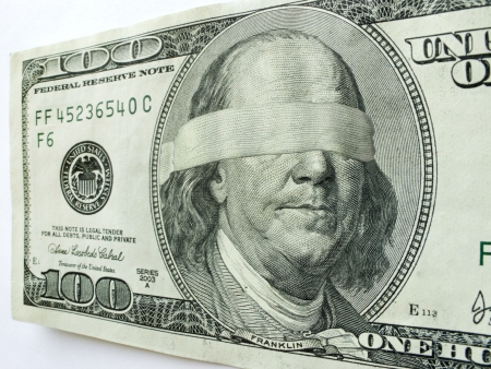 Ben Franklin Blindfolded on this One Hundred Dollar Bill might illustrate mixed Economic direction or uncertainty, business troubles, profits, employment challenges, income tax issues, budget shortfalls or salaries and revenue income