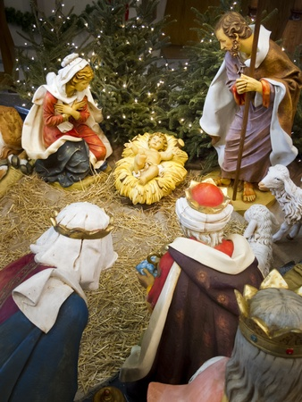 baby jesus: This detailed nativity scene