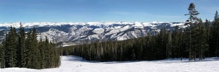 Beautiful ski slope and mountain panoramic view at the top of Beaver Creek Ski Resort in the Colordo Rocky Mountains