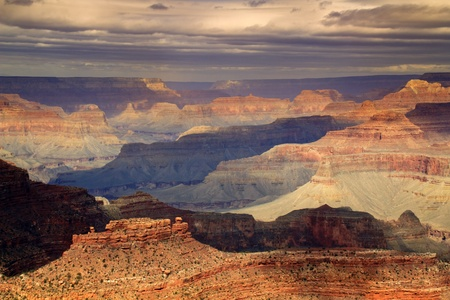 This majestic photo at the South Rim of the Grand Canyon captures the amazing layers of landscape and quality of light  photo
