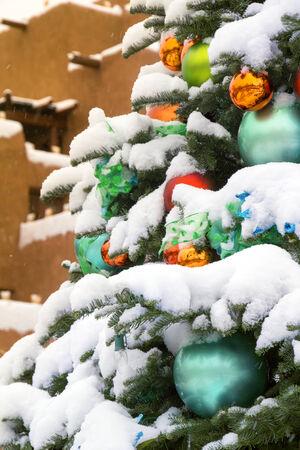 southwestern: Snow Covered Christmas Tree In Santa Fe New Mexico Stock Photo