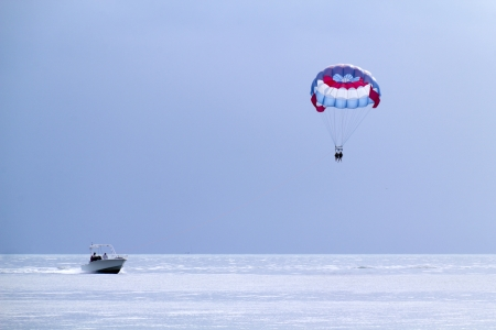 Parasailing in the warm ocean waters of Key West Florida