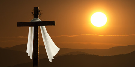 jesus christ crown of thorns: This dramatic mountain sunrise lighting and Easter Cross  Stock Photo
