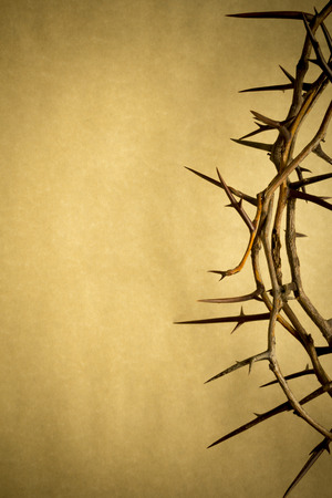 This Crown of Thorns against parchment paper represents Jesus photo