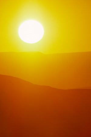 Vertical Easter Sunrise Background with Large Sun and Bright Yellow Sky Фото со стока - 26618819