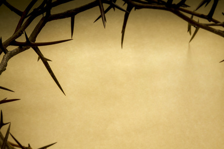 crucify: Crown Of Thorns On Parchment Background Represents Jesus Crucifixion on Good Friday