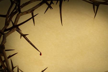 viernes santo: Corona de espinas Con Gota De Sangre representa a Jesús de la crucifixión el Viernes Santo