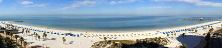 This wide panoramic view of Clearwater Beach Resort in Florida shows the  length and beauty of this gulf resort.
