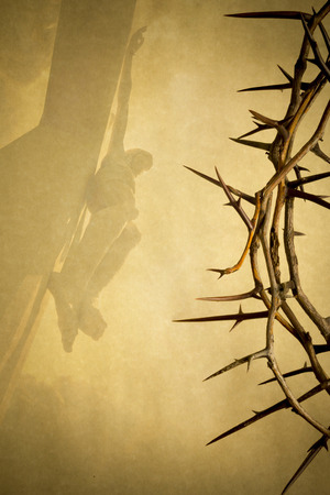 holy week: Easter photo background illustration with Crown of Thorns on Parchment Paper with Jesus Christ on the Cross faded into the background. Stock Photo