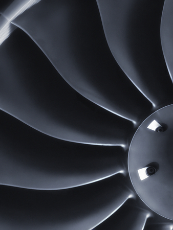 private parts: This close up image of a business aircraft jet engine inlet fan makes a great business travel or aerospace background.
