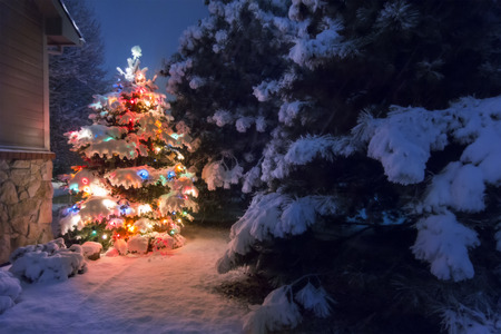 christmas decorations: A heavy snow falls quietly on this Christmas Tree accented by a soft glow and selective blur illustrating the magic of this Christmas Eve night time scene. Stock Photo