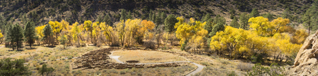 Beautiful Autumn Panormic View of Bandelier National Monument near Santa Fe New Mexico Фото со стока