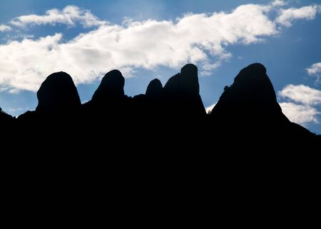 the backlighting: Silhouette of the mountain range of Montserrat