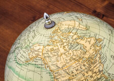 terrestrial globe: Detail of an old terrestrial globe showing Canada and surroundings