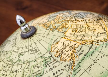 terrestrial globe: Detail of an old terrestrial globe showing Alaska and the Bering Strait