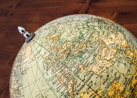 terrestrial globe: Detail of an old terrestrial globe showing Europe North Africa and the Maghreb. Stock Photo