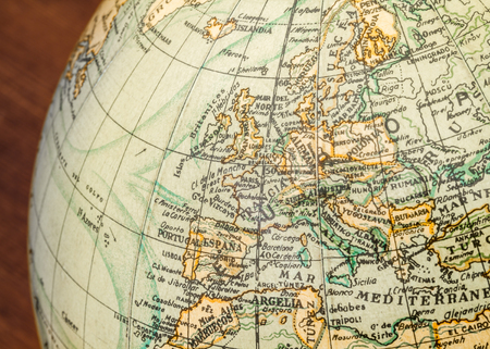 terrestrial globe: Detail of an old terrestrial globe showing Europe the Mediterranean Sea and surroundings Stock Photo