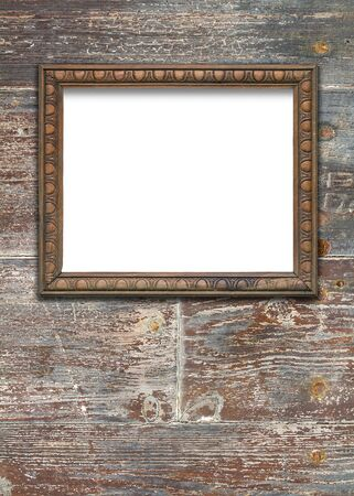 upright format: Front view, upright format, of a blank wooden frame over a weathered wooden surface