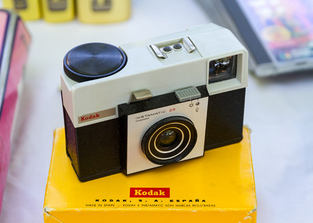 flea market: Barcelona, Spain - July 06, 2013 : an old Kodak Instamatic camera in a flea market