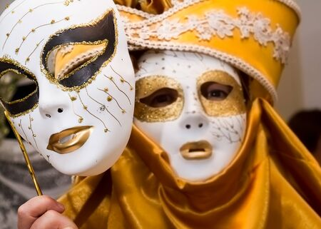 Carnival disguise with Venetian style mask Stock Photo