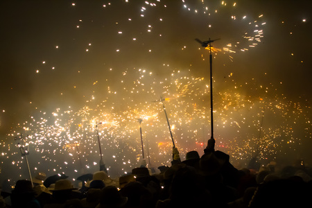 (Baix Emporda, Catalonia - August 17, 2010) - Correfoc (verbatim: Fire running), tradicional catalan feast.