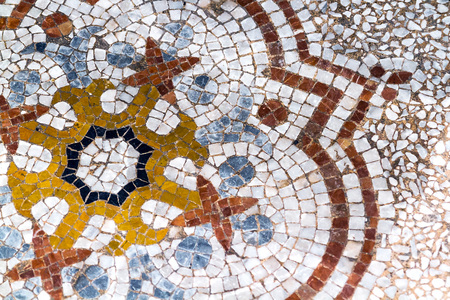 Detail of an ancient mosaic on the floor of a church