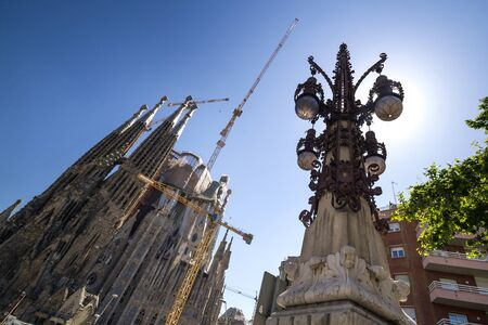 (Barcelona, ??Spain - May 28, 2015) - The construction of the temple-basilic of the Sagrada Familia, of the modernist architect Antoni Gaud?, continues in process, without interruption.