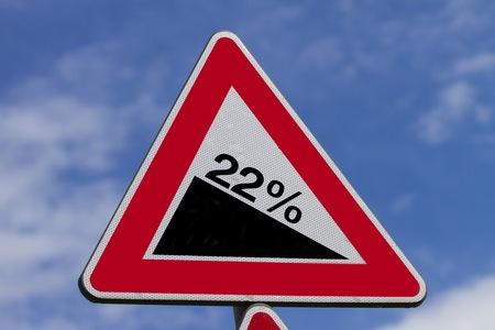 hazardous area sign: Steep Hill Warning Signpost