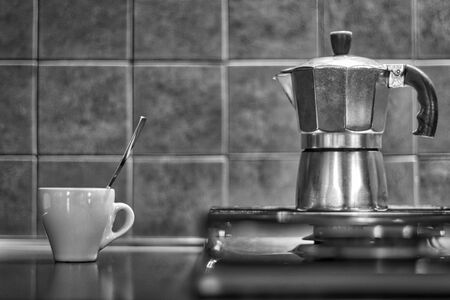 Cup of Coffee, Coffee Pot. Toned and film grain added. Black and White