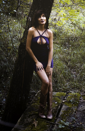 Young and attractive woman with a sexy dress in the woods Stock Photo