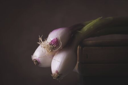 Three freshly picked red Tropea onions laid on a wooden table in a rustic setting Stock Photo