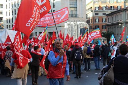 Rome, Italy - 08 november 2014 - Trade union demostration