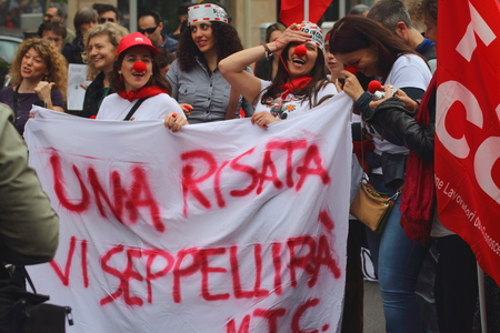 sectarian: Milan Italy 05 may 2015 Trade union demostration Manifestation of public school employees who demonstration against the governement
