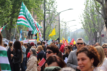 public demonstration: Milan Italy 05 may 2015 Trade union demostration Manifestation of public school employees who demonstration against the governement